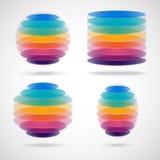 色的球形、圆筒、多角形和椭圆 库存照片