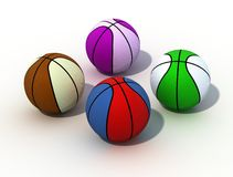 色的球篮子 免版税图库摄影