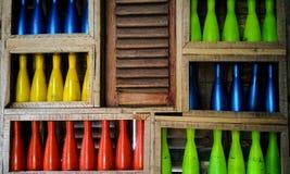色的瓶静物画 库存照片