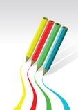 色的画的线路铅笔 库存例证