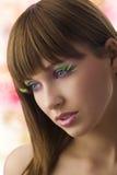 色的眼睛纵向妇女 免版税库存图片