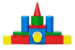 色的砖安置做的小的玩具 免版税图库摄影