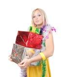 色的礼品女孩新年度 库存照片