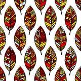 色的种族墨西哥叶子无缝的样式 库存图片