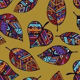 色的种族墨西哥部族叶子无缝的样式 图库摄影