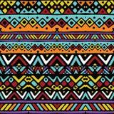 色的种族墨西哥部族条纹无缝的样式 库存图片