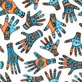 色的种族种族棕榈手拉的无缝的样式 免版税库存图片