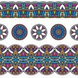 色的种族部族边界无缝的样式 库存图片