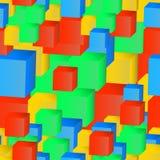 色的立方体的抽象无缝的样式 免版税库存照片