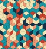色的立方体的无缝的样式 不尽的多彩多姿的立方体背景 立方体样式 立方体传染媒介 求背景的立方 抽象海运 库存照片