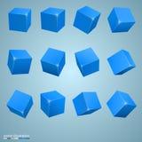色的立方体3d艺术对象 免版税库存照片