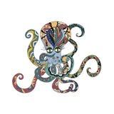 色的章鱼纹身花刺 图库摄影