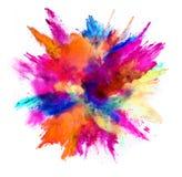 色的粉末爆炸在白色背景的 免版税库存照片