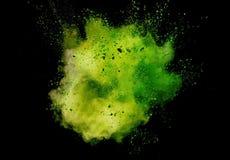 色的粉末爆炸在黑背景的 图库摄影