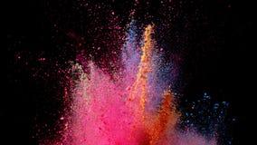 色的粉末爆炸在黑背景的 免版税库存图片