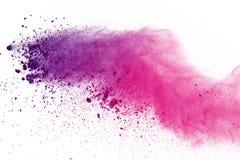 色的粉末爆炸,隔绝在白色背景 splatted的色的尘土摘要  颜色云彩 向量例证