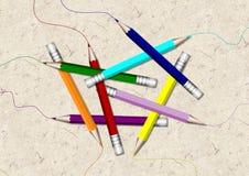色的组铅笔 库存照片