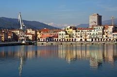 色的统治权旧港口反映水 免版税库存图片