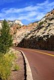 色的美丽创建小河横向多国家公园岩石令人难忘的美国zion 库存照片