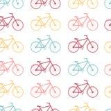 色的自行车的无缝的样式 库存图片