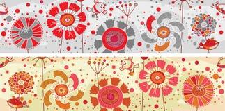 色的花和鸟横幅 免版税库存照片