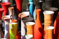 色的花瓶 免版税库存照片