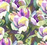 色的花的美好的无缝的模式 库存图片