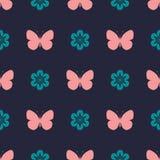 色的葡萄酒无缝的样式蝴蝶 库存图片