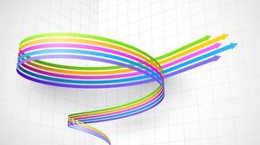 色的螺旋箭头3D 库存照片