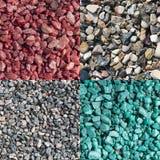 色的被击碎的不同的四块自然石头 库存照片