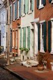 色的费城rowhouses 免版税库存图片
