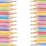 色的铅笔做的垂直的框架,蜡笔 免版税库存照片