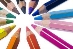 色的铅笔圈子  免版税库存照片