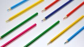 色的铅笔安置了得对角地 库存图片