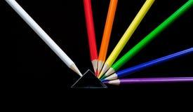 色的铅笔展开 免版税库存照片