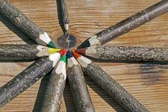 色的铅笔手工制造从分支树6 免版税库存图片