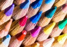 色的铅笔技巧超级宏观射击  库存图片