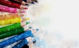 色的铅笔数字式绘画,水彩样式 免版税库存照片
