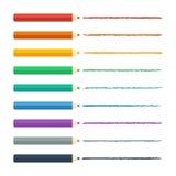 色的铅笔明亮的五颜六色的集合 也corel凹道例证向量 库存照片