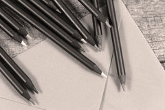 色的铅笔特写镜头视图 免版税库存照片