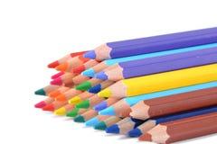 色的铅笔的分类在白色的 免版税库存图片