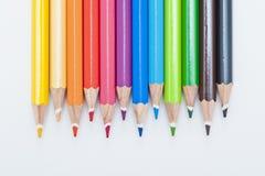 色的铅笔种类 免版税库存照片