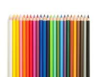 色的铅笔行  免版税库存照片