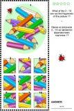 色的铅笔视觉谜语-什么不属于? 免版税库存图片