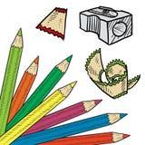 色的铅笔角落选项 免版税库存照片