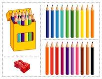 色的铅笔集 库存图片