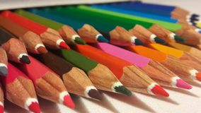 色的铅笔,木 免版税库存照片