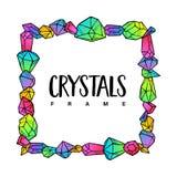 色的霓虹概述水晶框架模板  向量例证