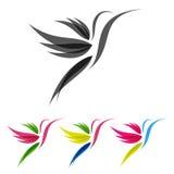 色的风格化colibri 免版税库存照片