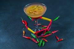 色的饮料,红色桔子,柠檬,马蒂尼鸡尾酒玻璃的组合 免版税库存照片